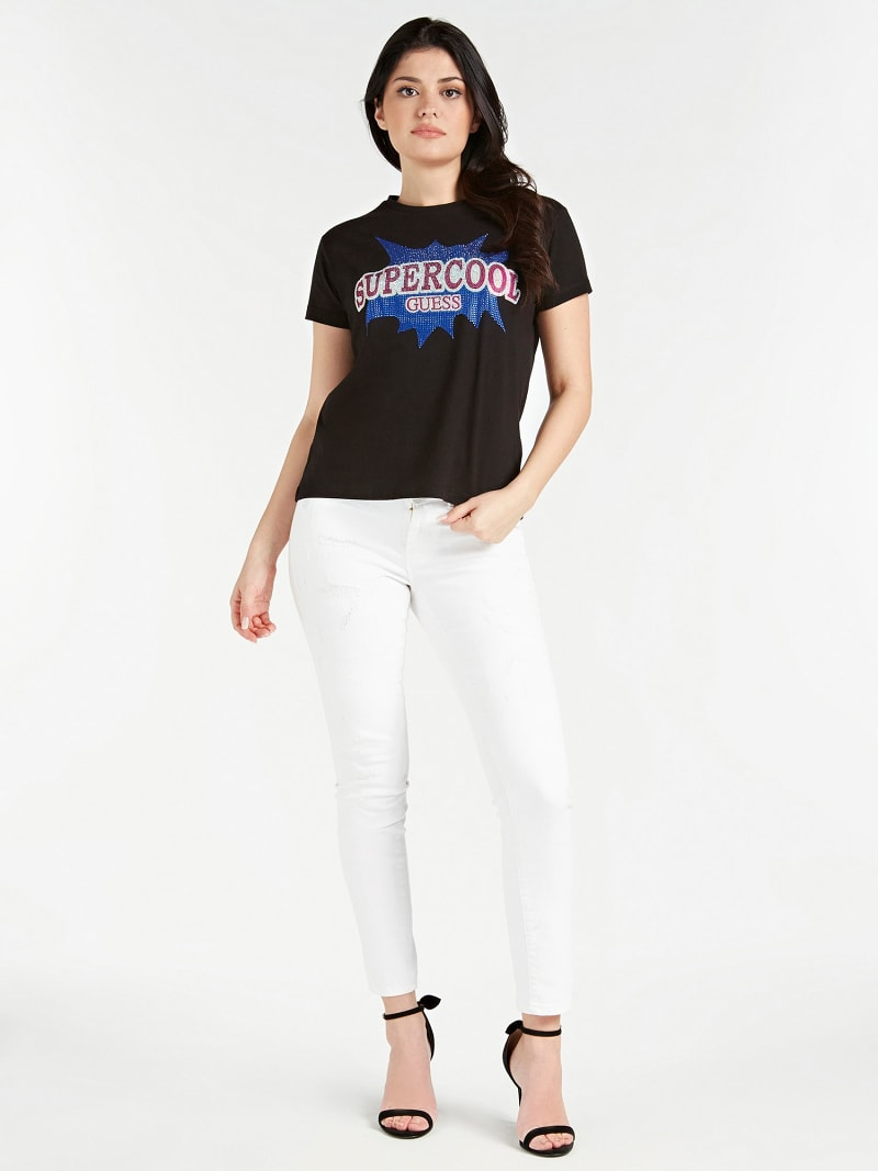 W92I60K7WS0 Guess Women/'s T-Shirt with Pearl Appliqués on the Logo PN