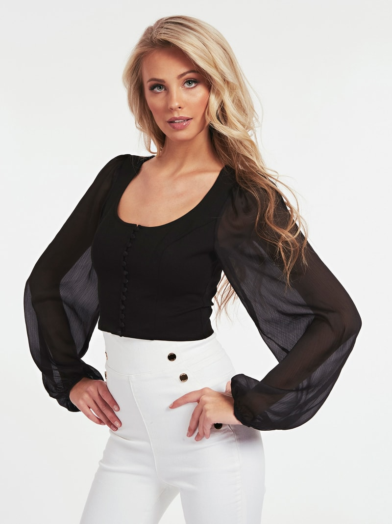 SHEER SLEEVE BLOUSE image number 0