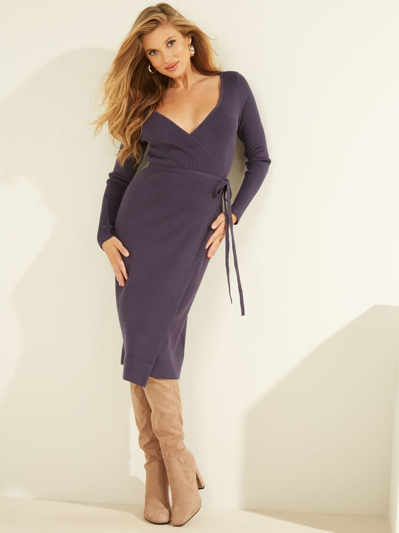 RIBBED WRAPOVER DRESS image number 1