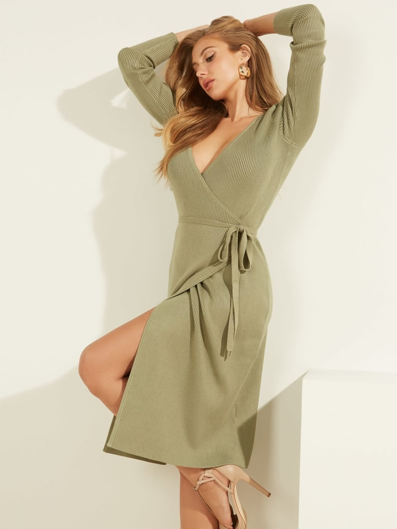 RIBBED WRAPOVER DRESS image number 0