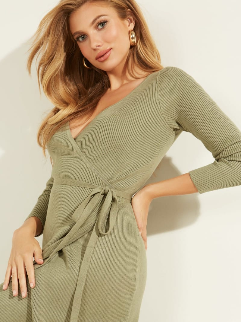 RIBBED WRAPOVER DRESS image number 2