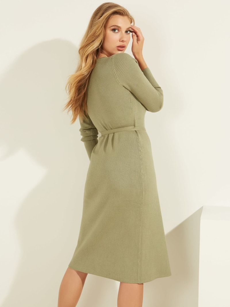 RIBBED WRAPOVER DRESS image number 3