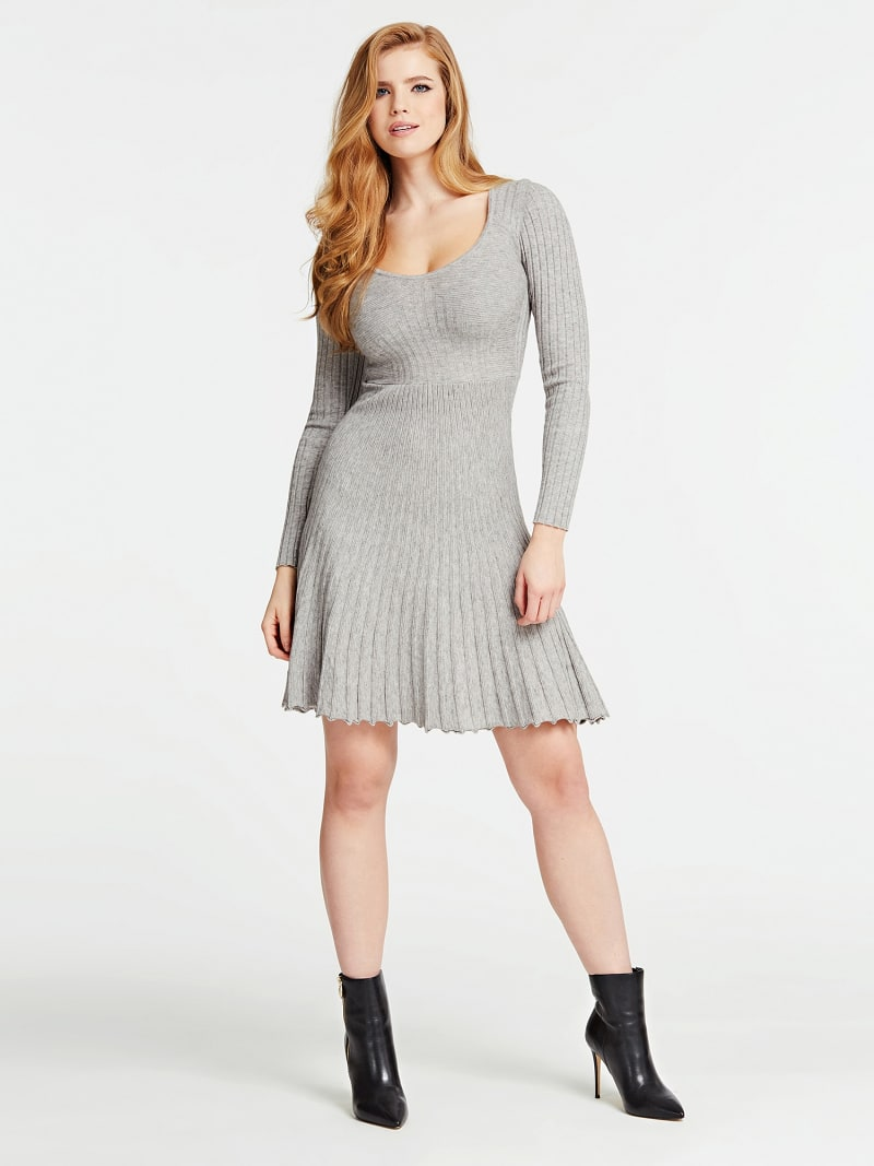PLEATED-LOOK KNIT DRESS image number 0