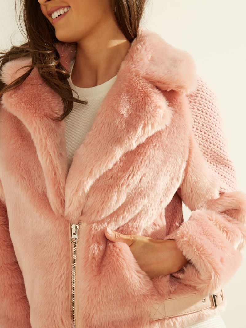 SHORT FAUX FUR JACKET image number 4