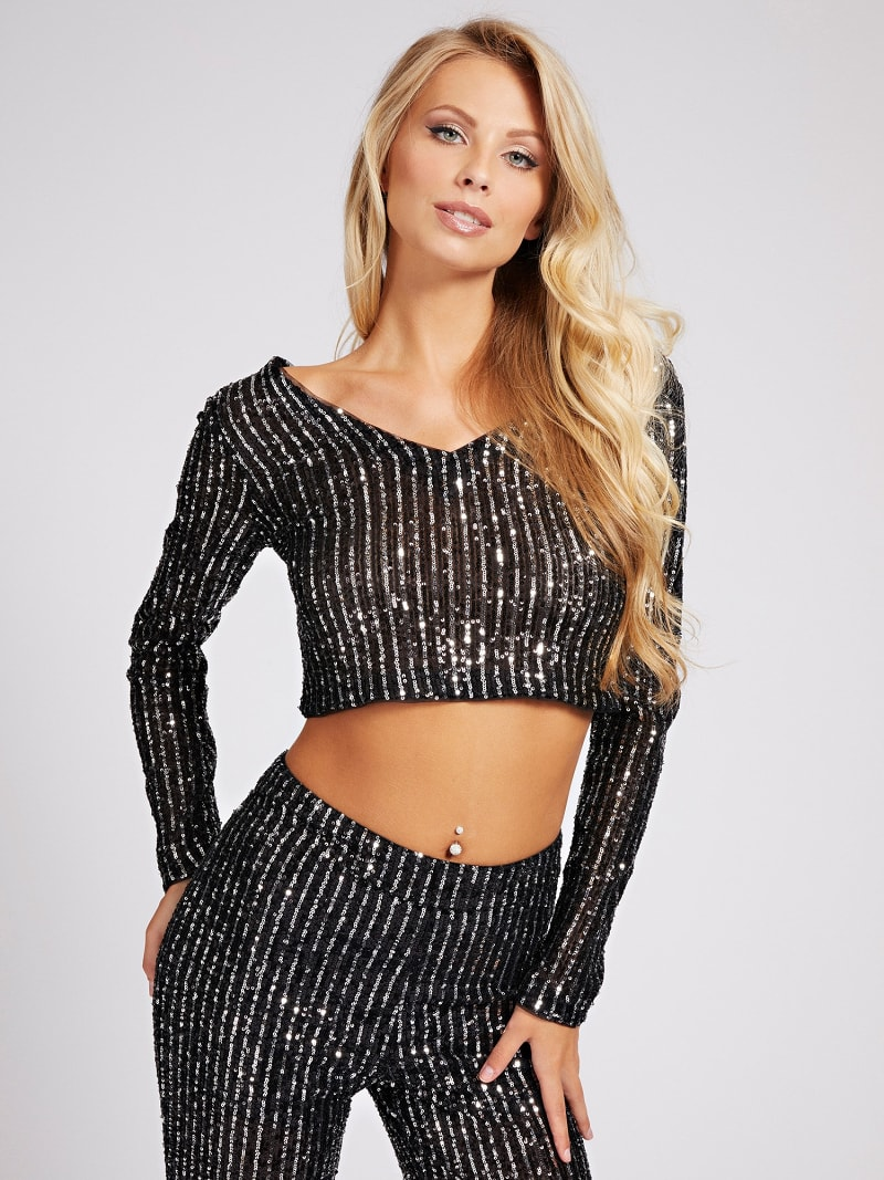 SEQUIN CROP TOP image number 0