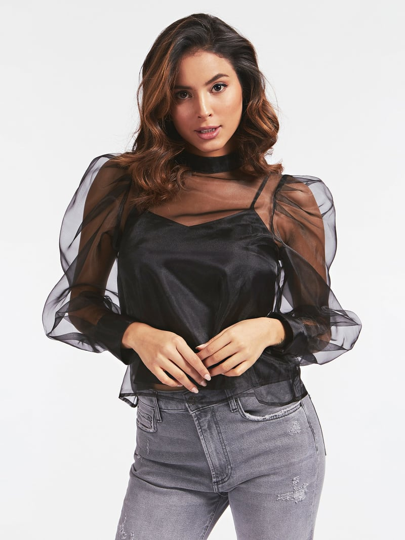BALLOON SLEEVES SHEER BLOUSE image number 0