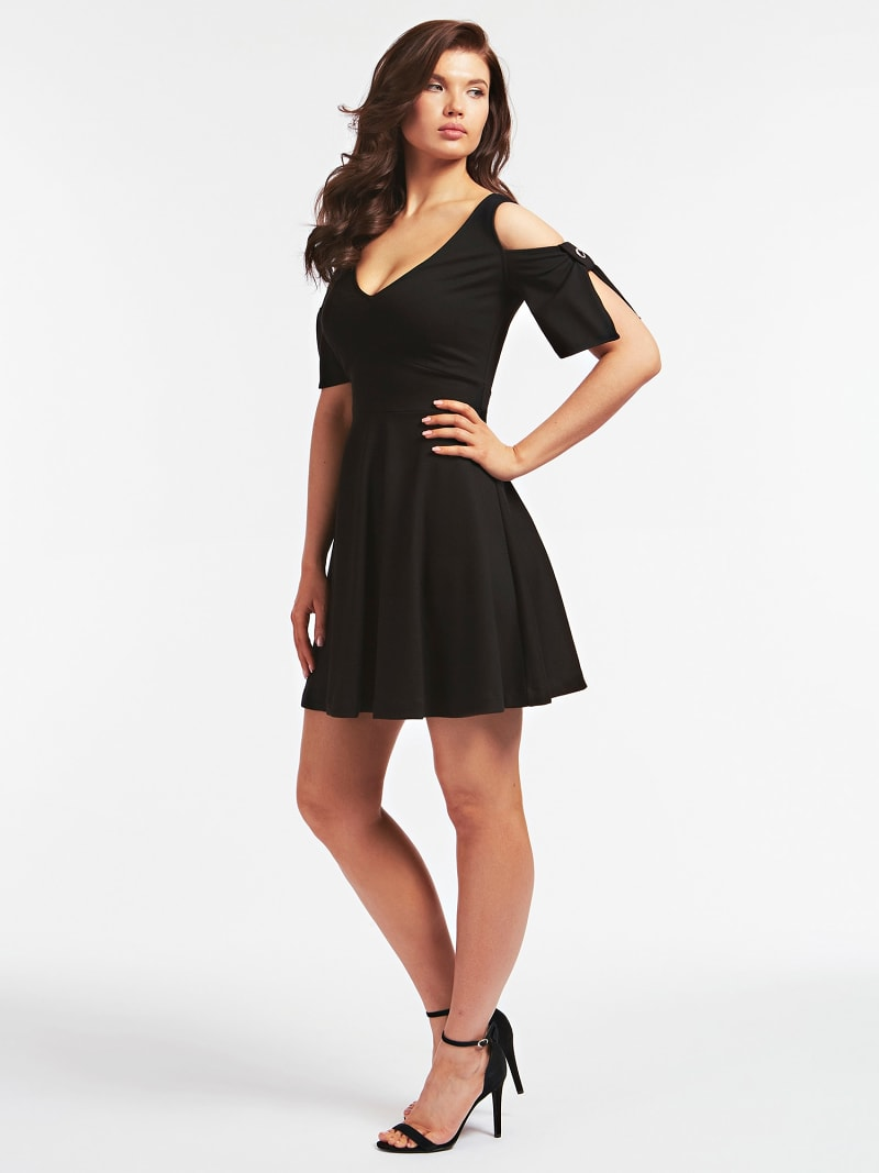 FANCY BUTTON FIT AND FLARE DRESS image number 0
