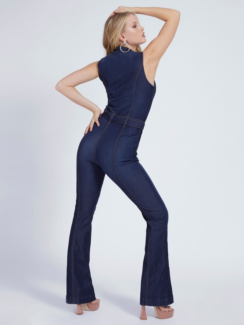 FLARED DENIM JUMPSUIT image number 1