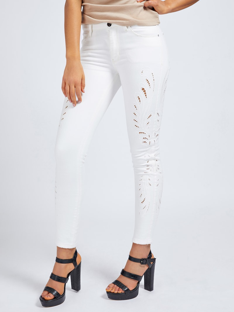 EMBROIDERY SKINNY FIT DENIM PANT image number 0