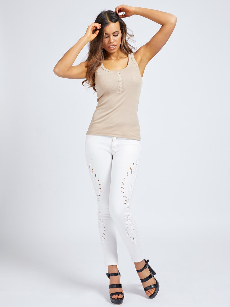 EMBROIDERY SKINNY FIT DENIM PANT image number 1