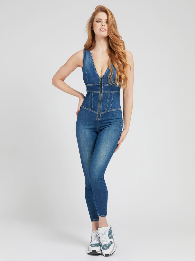 SKINNY FIT DENIM JUMPSUIT image number 0