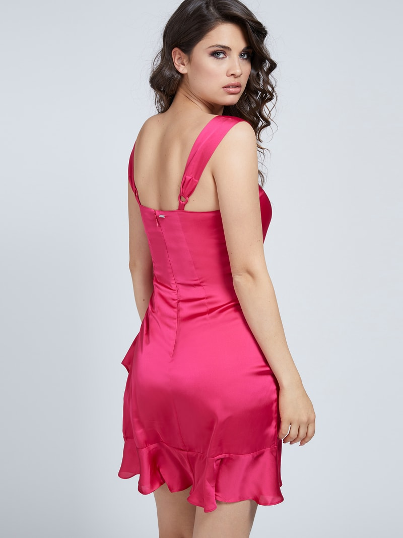 DRAPED SATIN DRESS image number 2