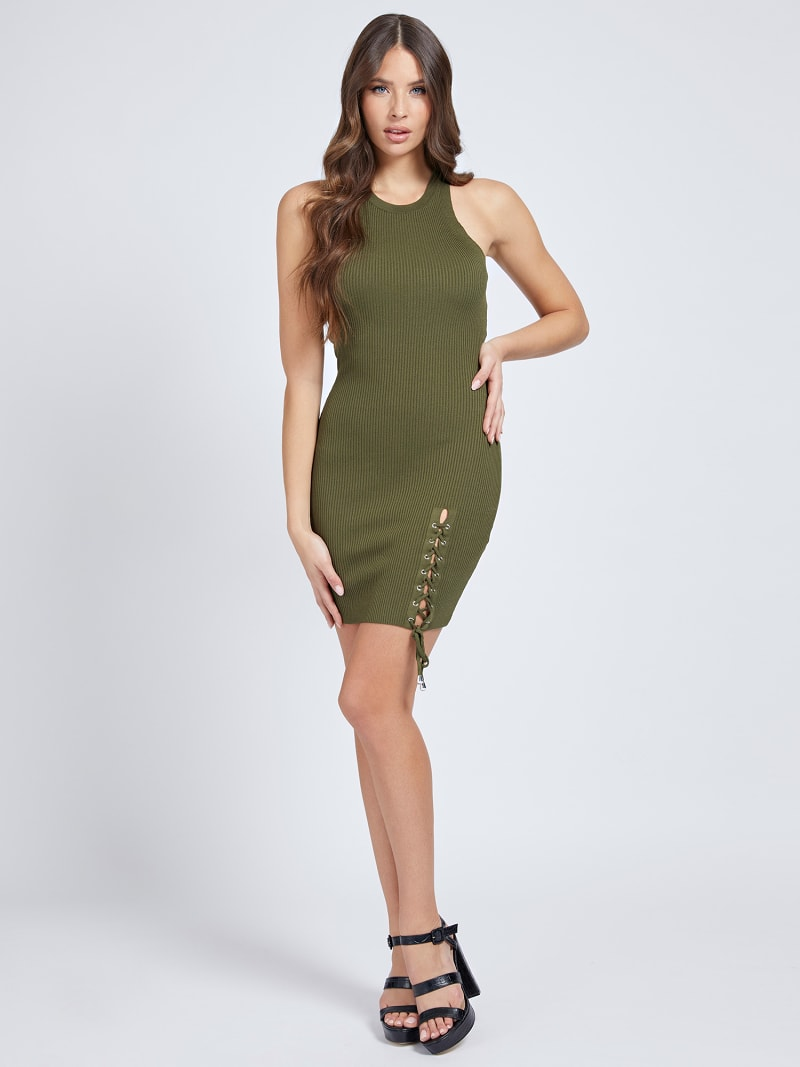 LACE UP RIB DRESS image number 0
