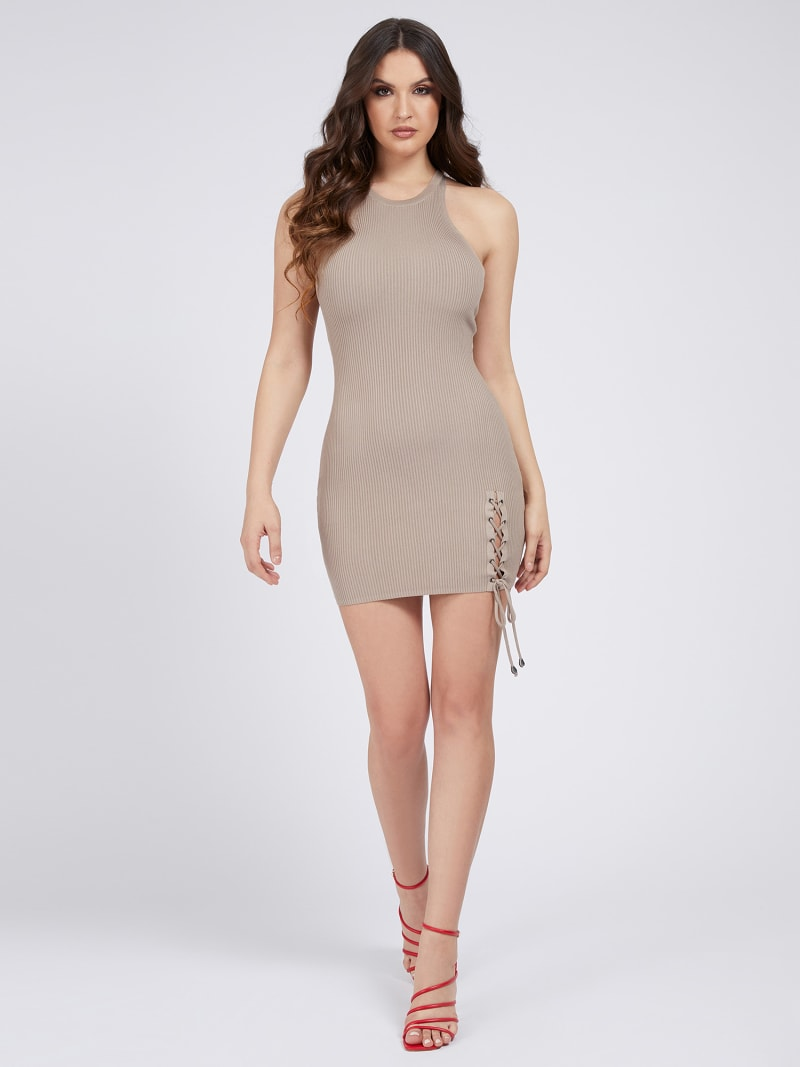 LACE UP RIB DRESS image number 1