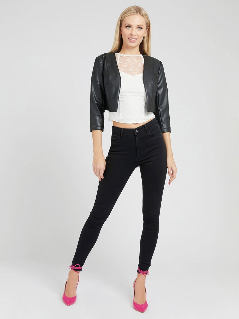 CROP FIT FAUX LEATHER JACKET image number 1