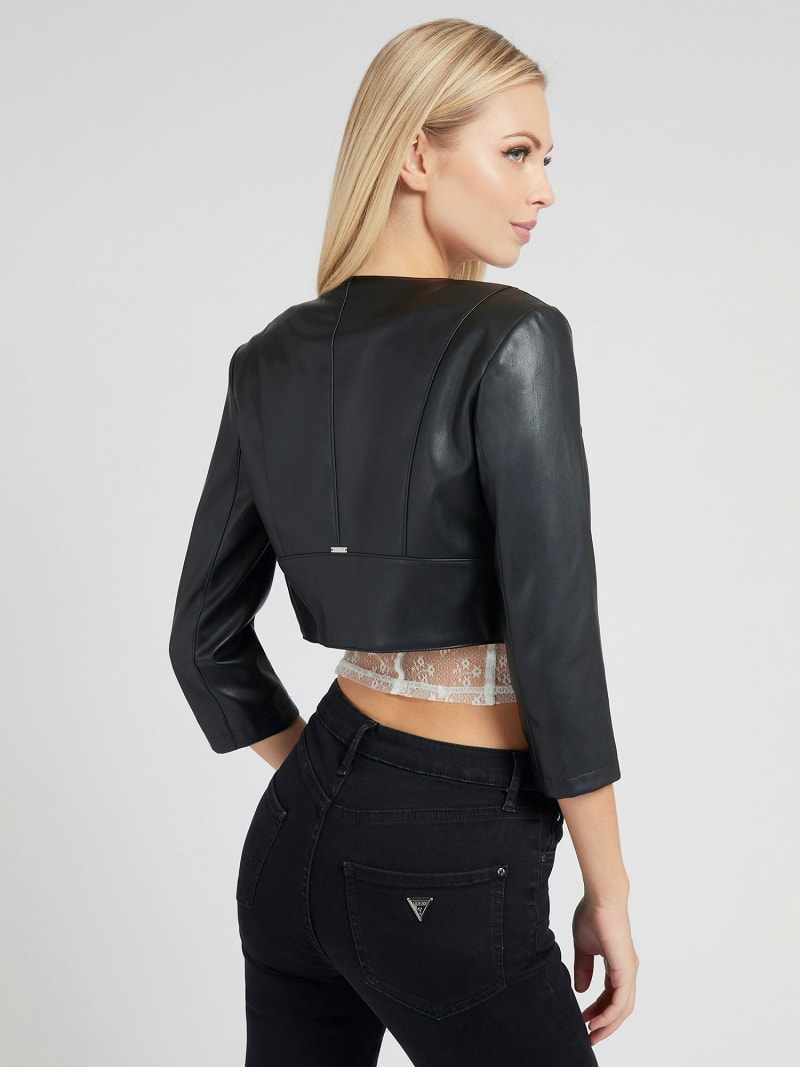 CROP FIT FAUX LEATHER JACKET image number 2