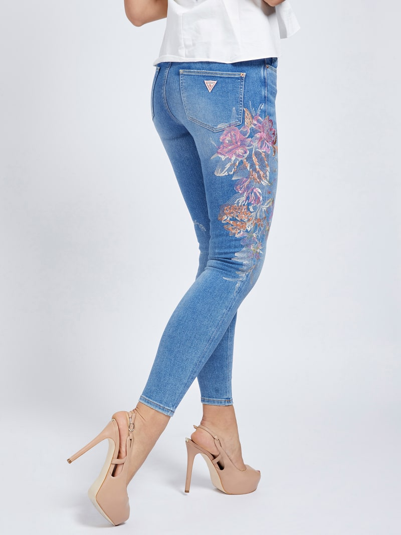 EMBROIDERY SKINNY FIT DENIM PANT image number 2