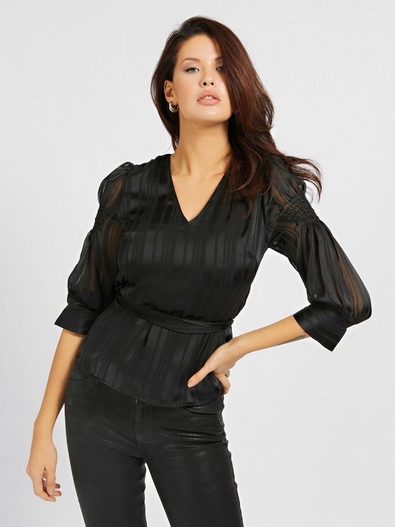 CHIFFON BELTED BLOUSE image number 0