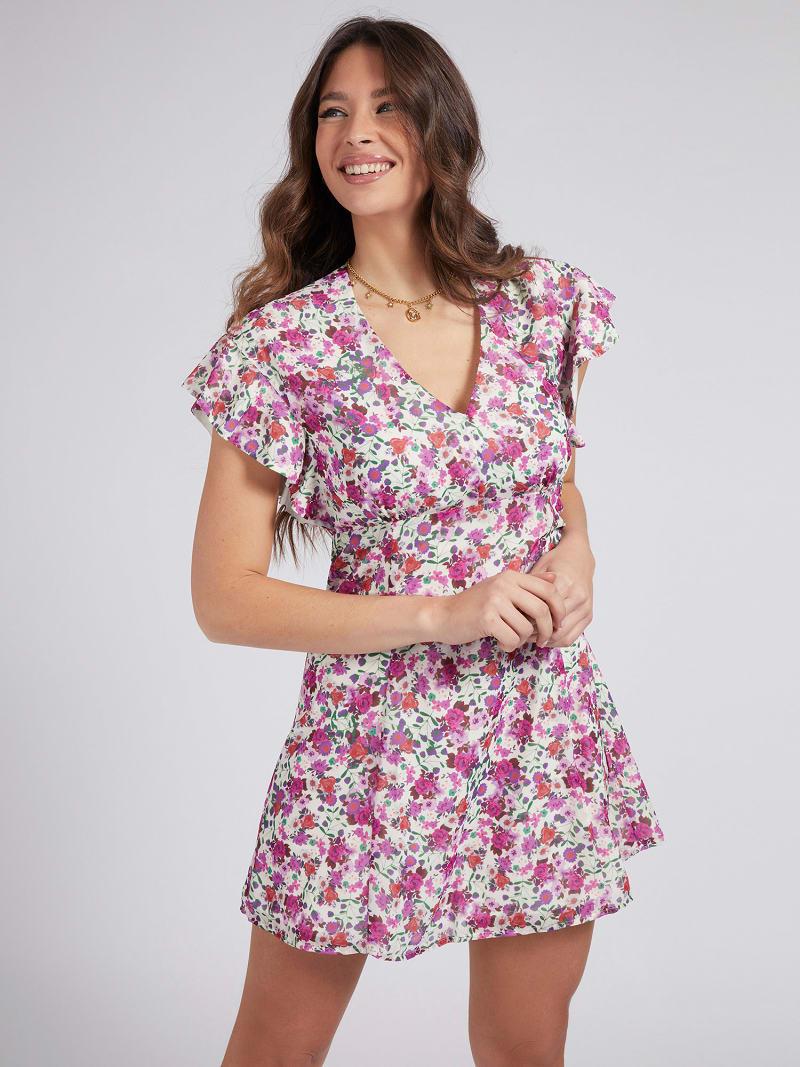 V-NECK RUFFLE DRESS image number 0