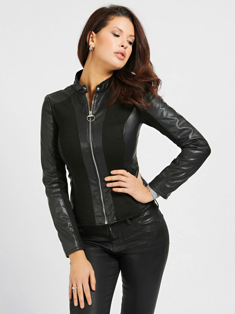 FAUX LEATHER CONTRAST FABRIC JACKET image number 0