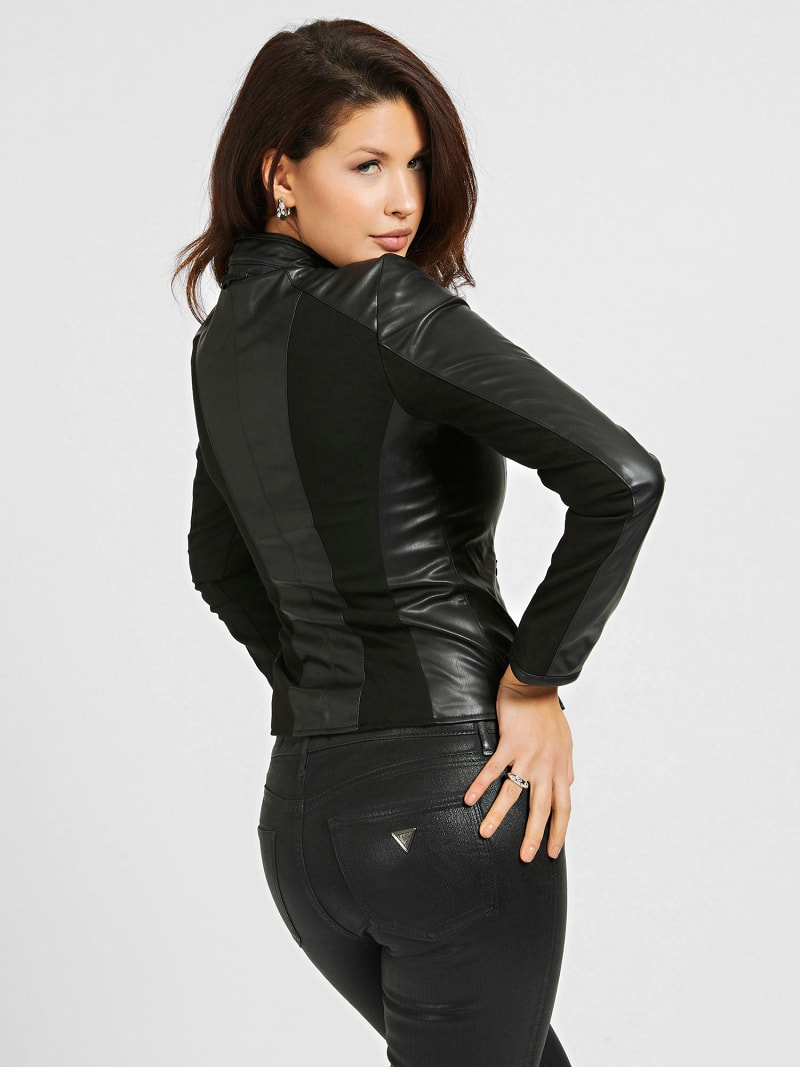 FAUX LEATHER CONTRAST FABRIC JACKET image number 2