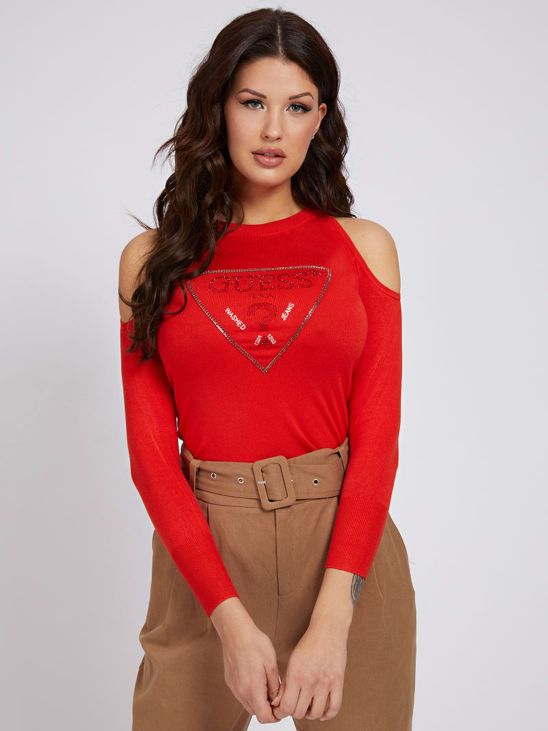 CUT-OUT SLEEVES TRIANGLE LOGO SWEATER image number 0