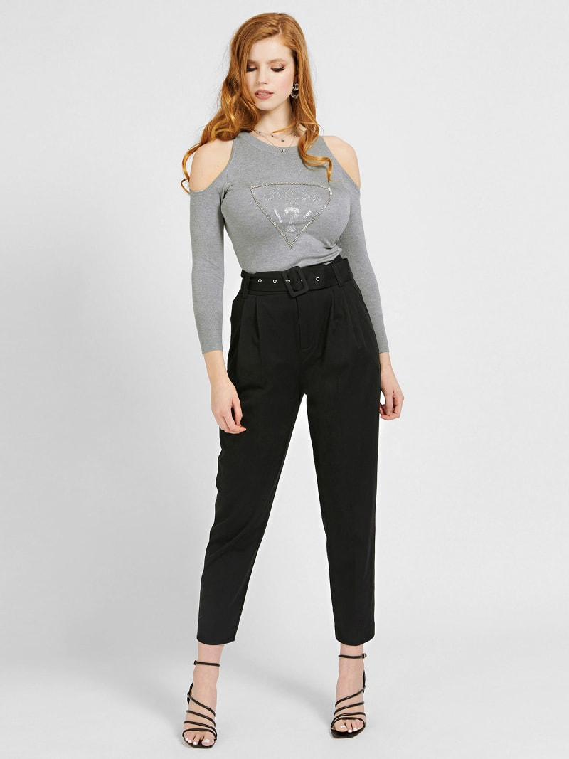 CUT-OUT SLEEVES TRIANGLE LOGO SWEATER image number 1