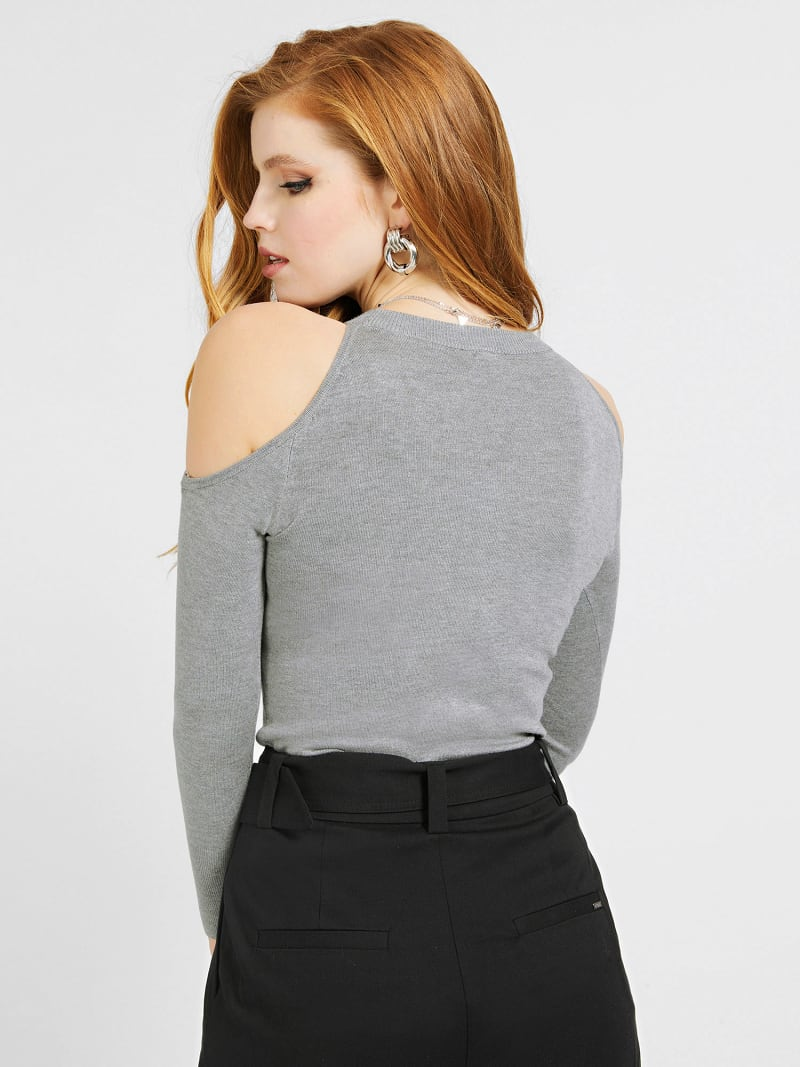 CUT-OUT SLEEVES TRIANGLE LOGO SWEATER image number 2