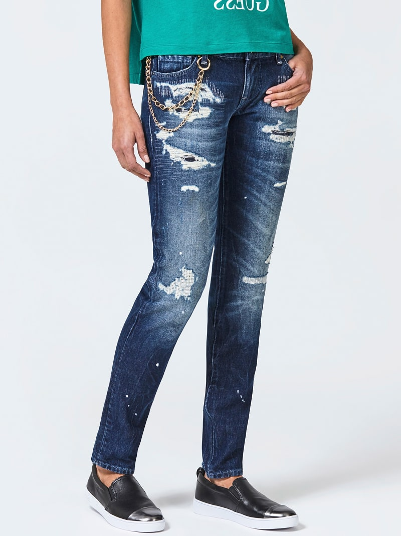 CHAIN DETAIL RIPPED SLIM JEANS image number 0