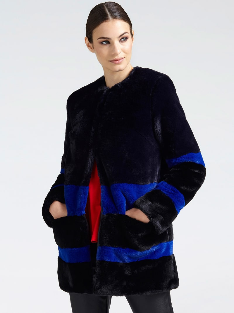 FAUX FUR CONTRASTING COLOUR COAT image number 0