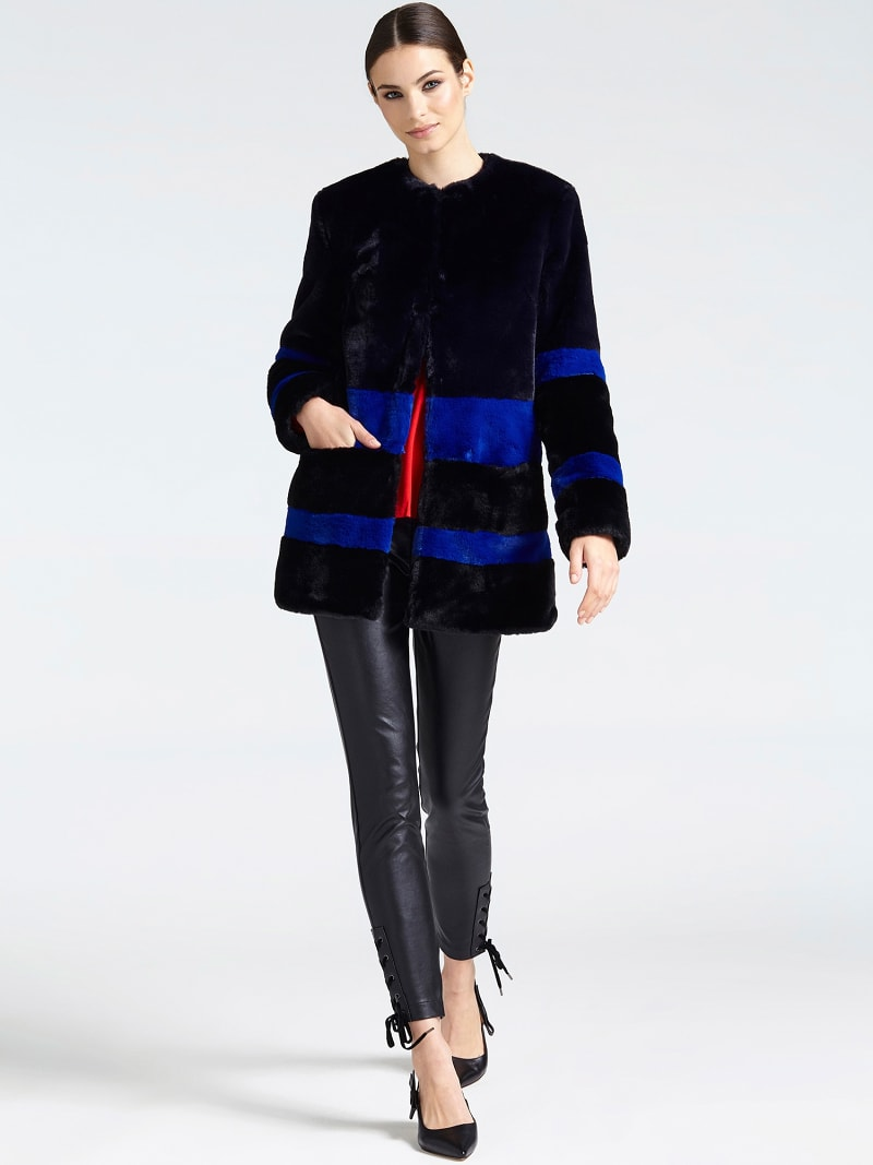 FAUX FUR CONTRASTING COLOUR COAT image number 1