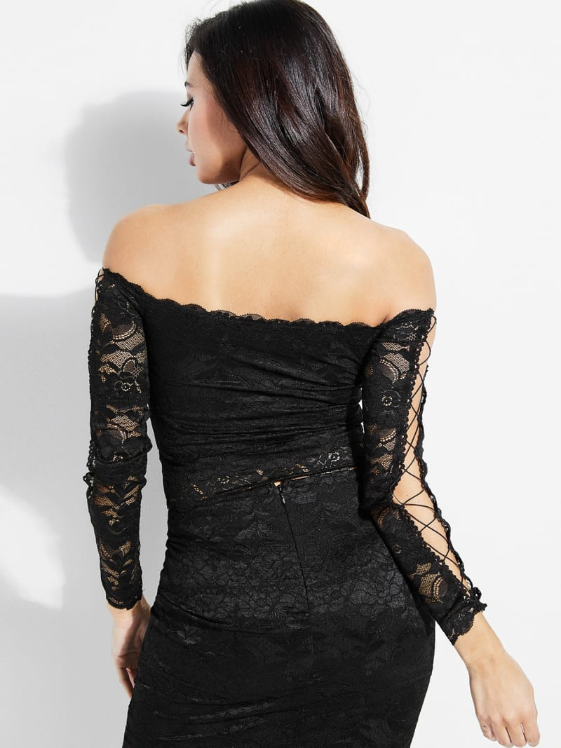 LACE TOP WITH CORSET DETAIL image number 3