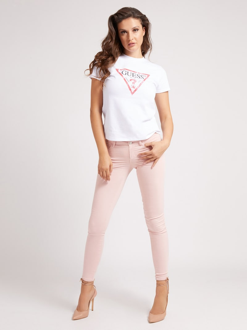 USED-LOOK TRIANGLE LOGO PRINTED FRONT T-SHIRT image number 1