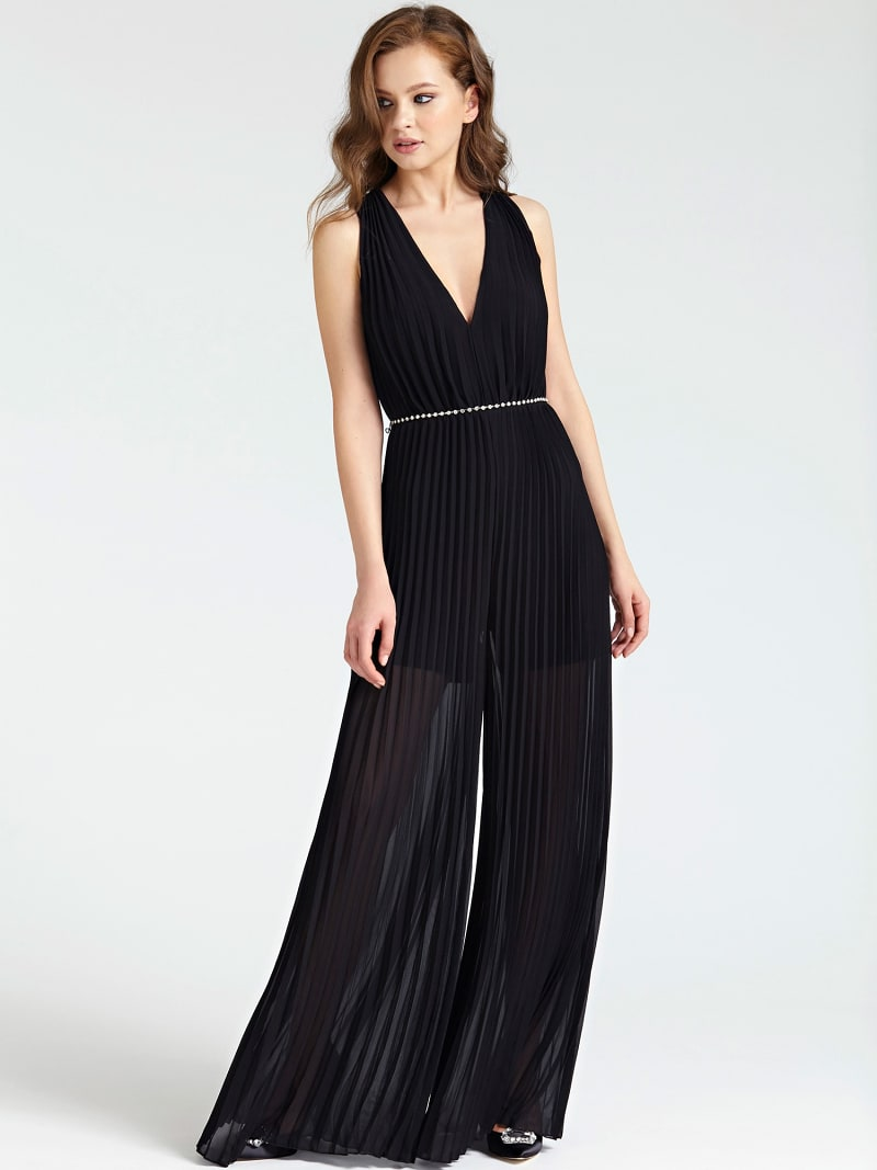 WIDE-FIT SPLIT DETAIL LACE JUMPSUIT image number 0