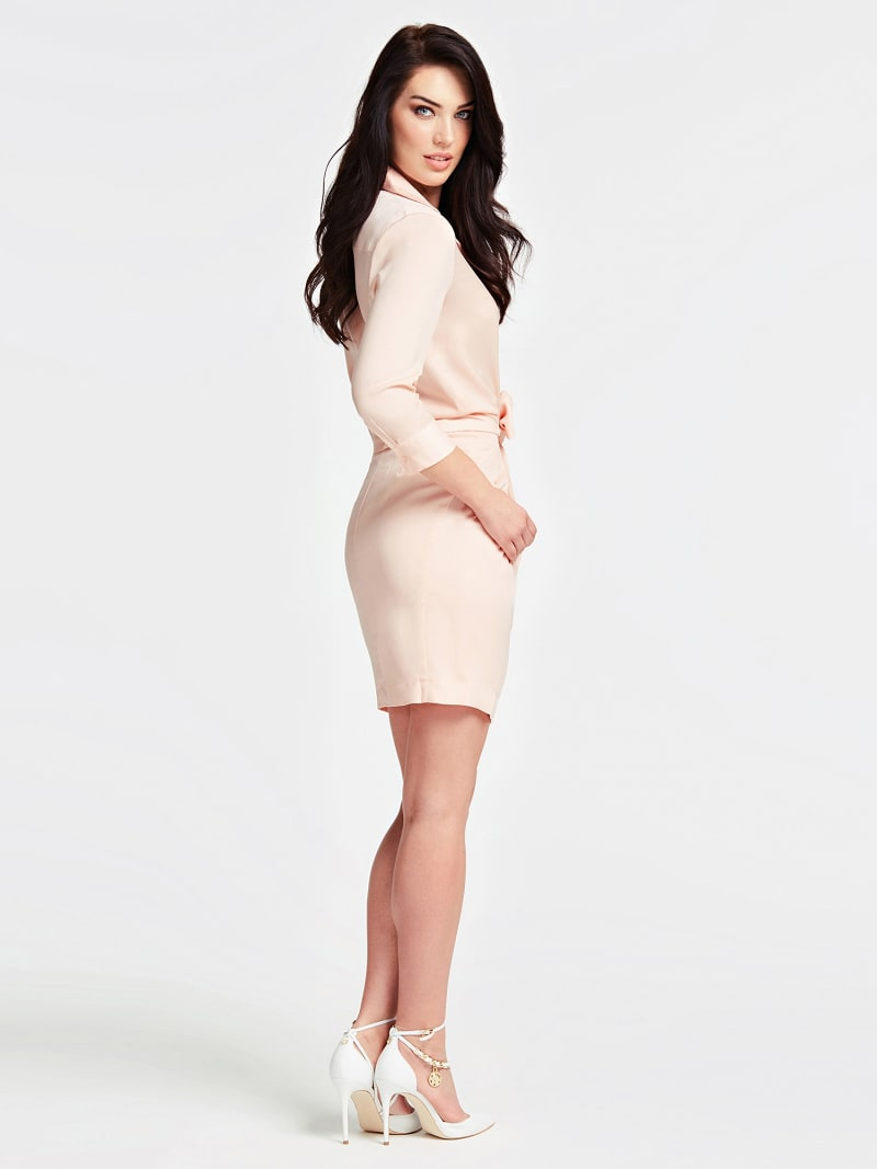 3/4-LENGTH SLEEVE KNOT FRONT DRESS image number 1