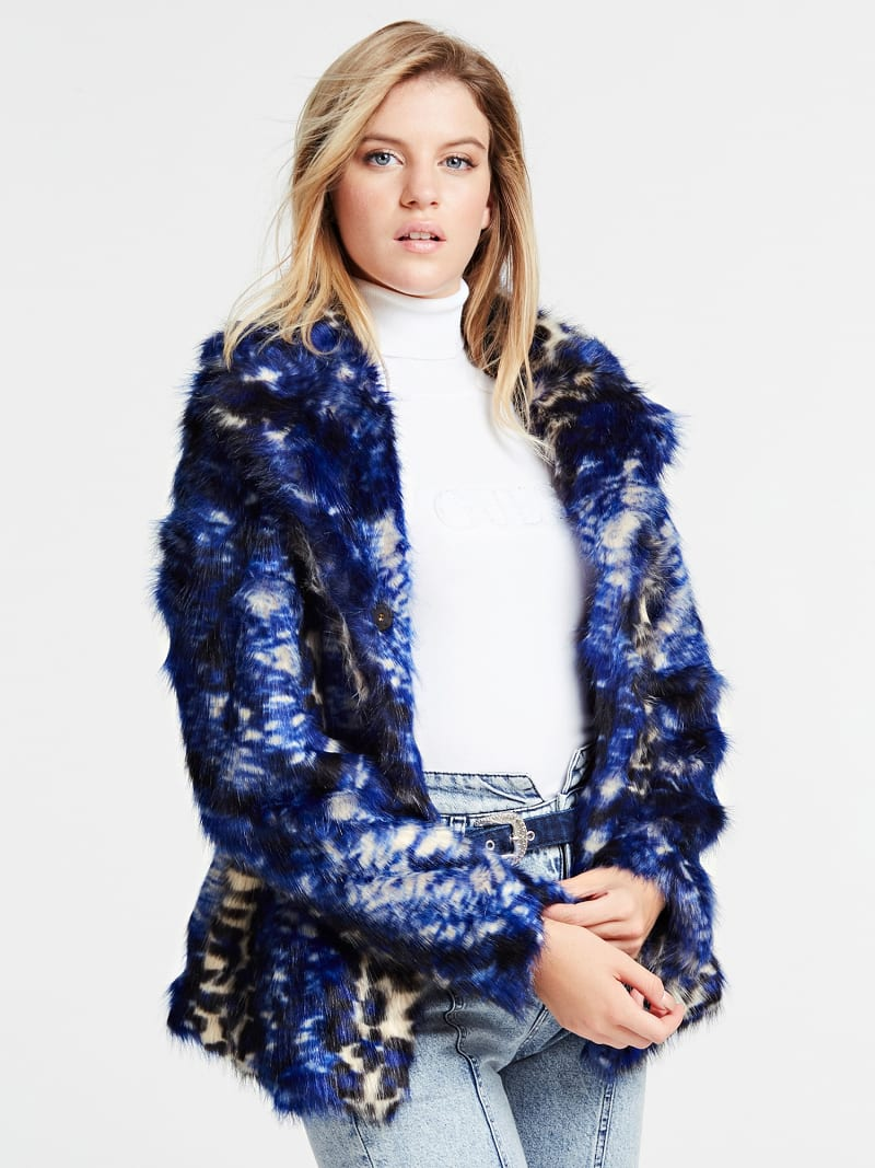 FAUX FUR JACKET WITH CLASSIC LAPEL image number 0