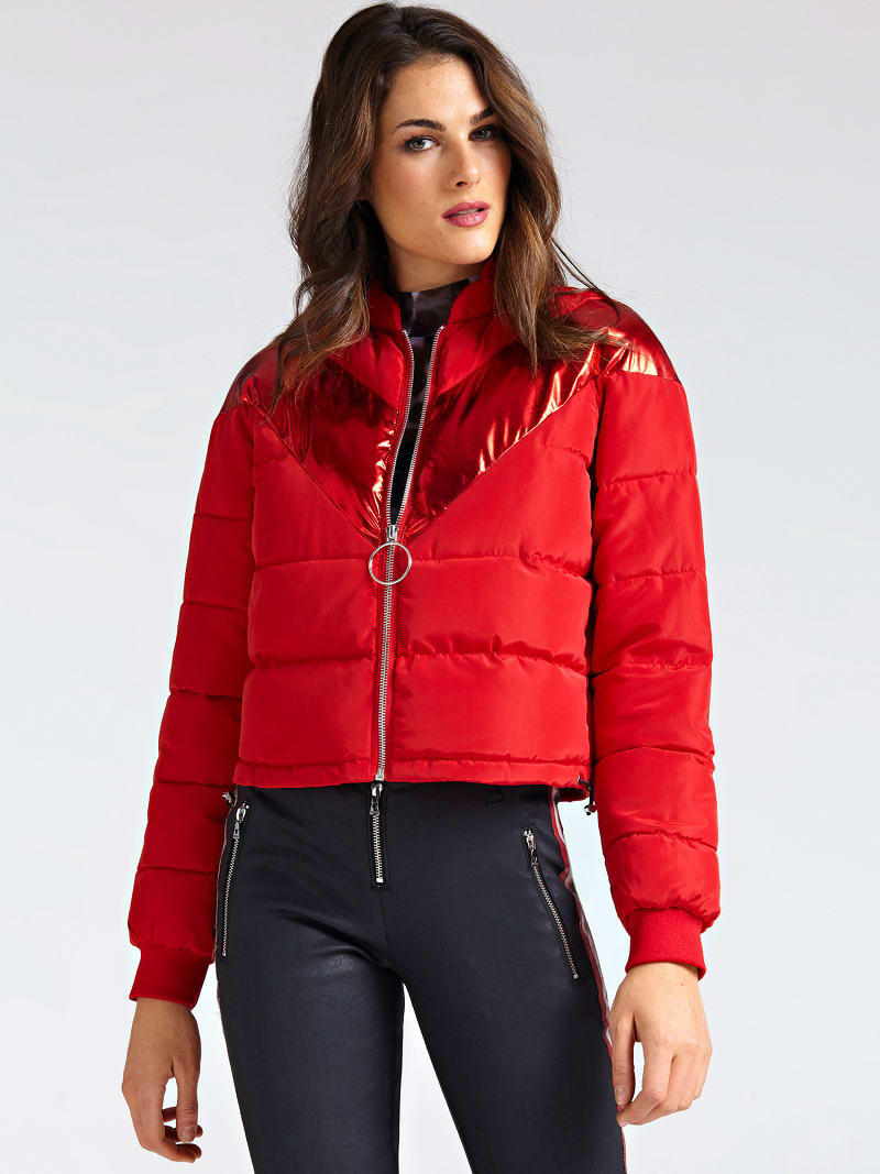 LAMINATED-LOOK STRIPE PADDED JACKET image number 0
