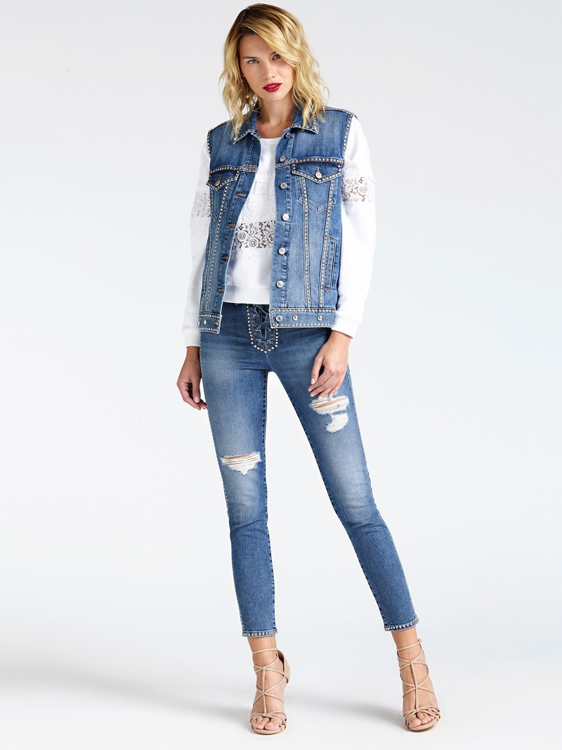 USED-LOOK STUDDED DENIM JACKET image number 1