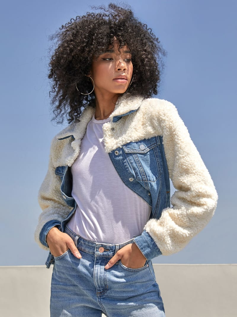 DENIM AND FAUX FUR JACKET image number 0