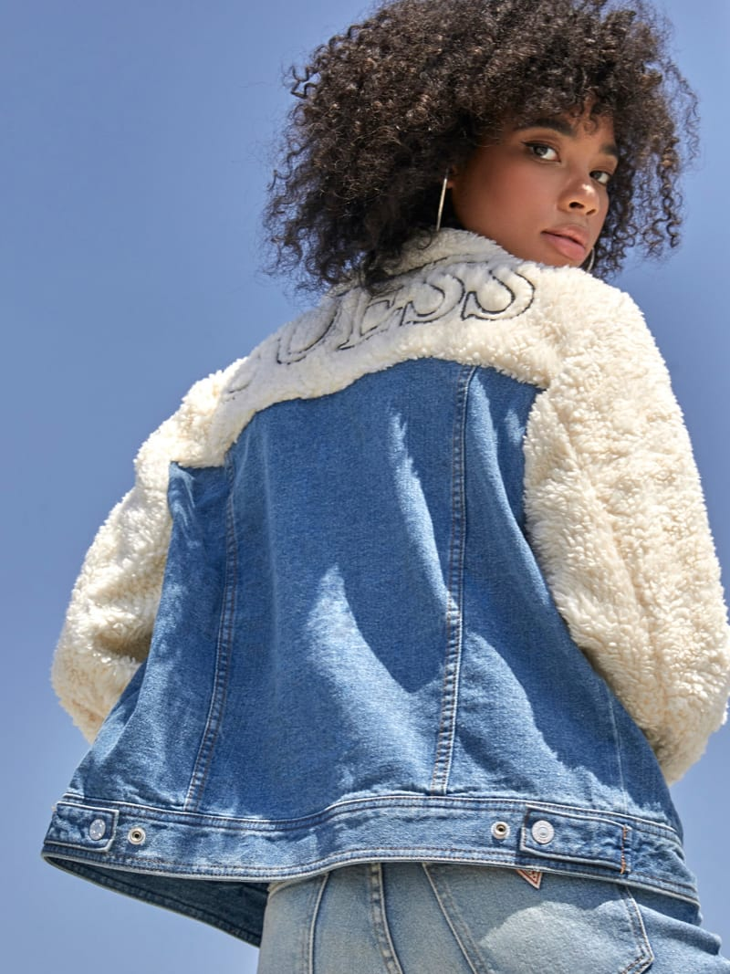 DENIM AND FAUX FUR JACKET image number 1