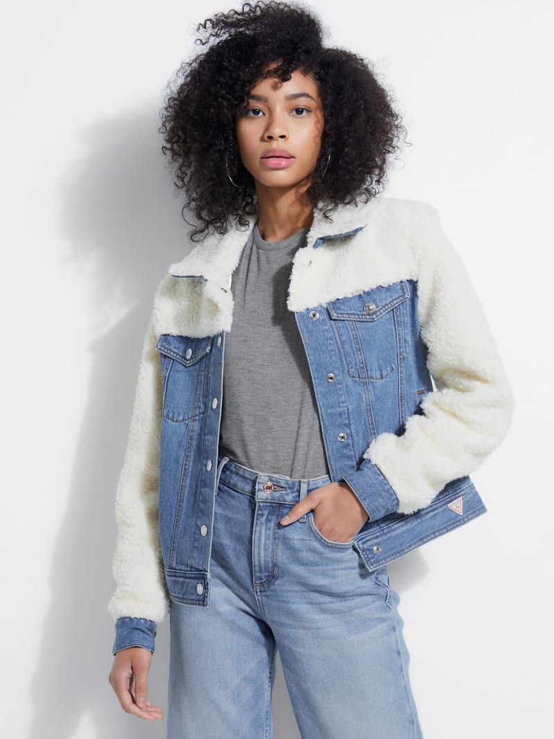 DENIM AND FAUX FUR JACKET image number 4