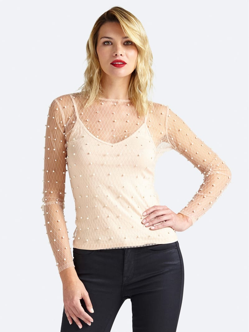 TULLE TOP WITH PEARL DETAILS image number 0