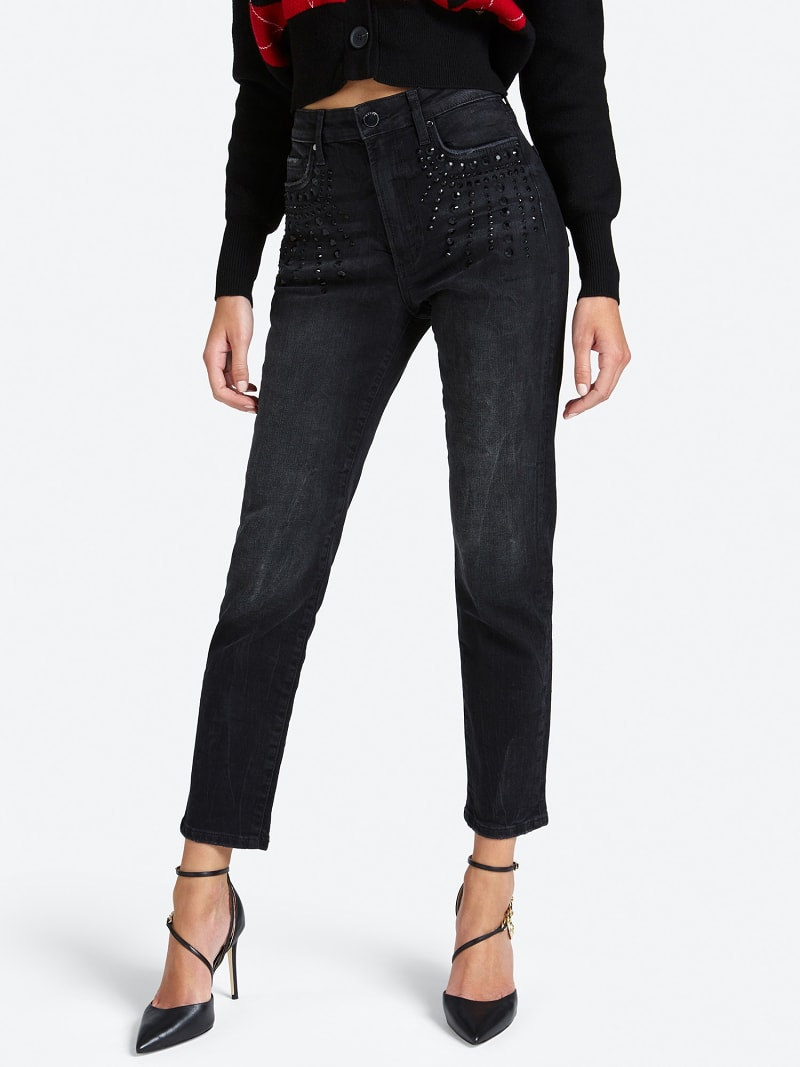 USED-LOOK JEANS WITH STUDS image number 0
