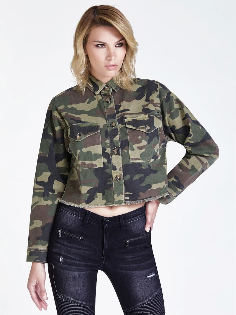 Fringed Camouflage Jacket Guess Official Online Store