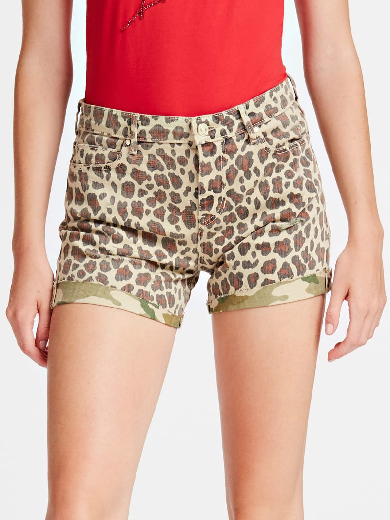 SHORT JEANS STAMPA ANIMALIER image number 0