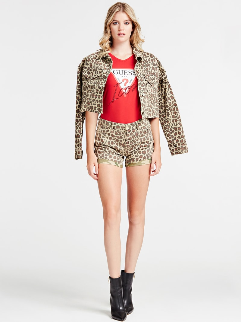 SHORT JEANS STAMPA ANIMALIER image number 1