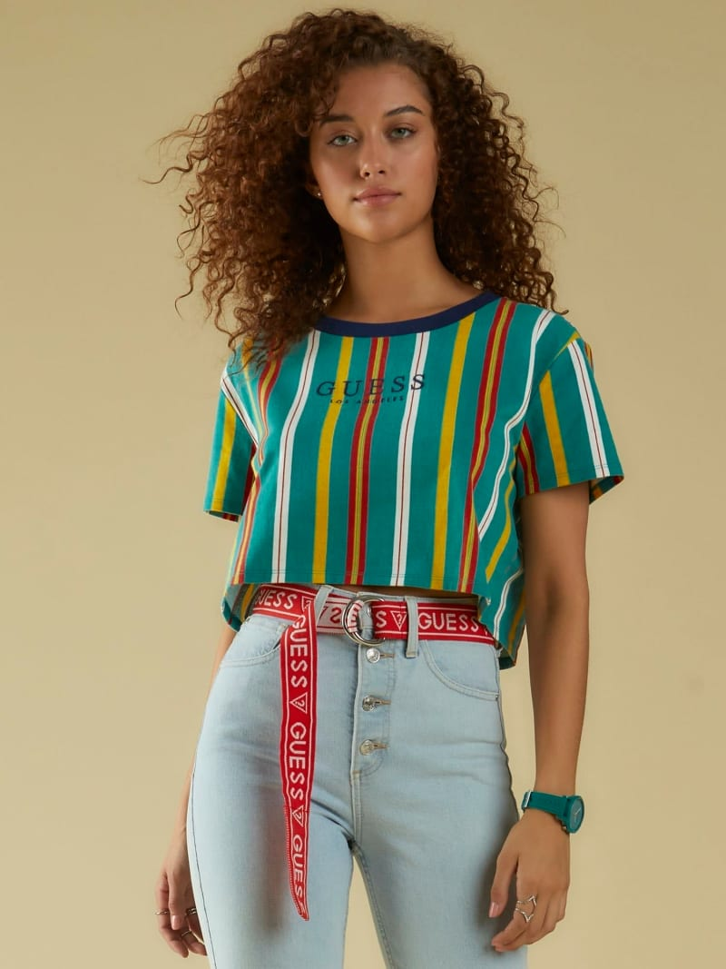 STRIPE MOTIF LOGO CROP TOP image number 0