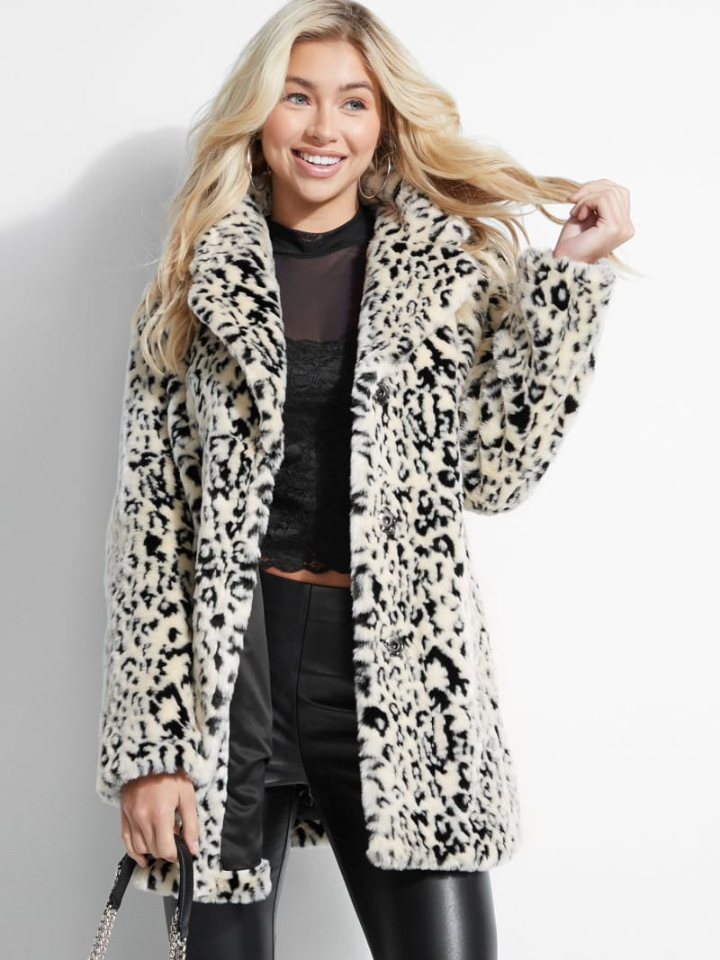 ANIMALIER FAUX FUR COAT image number 0