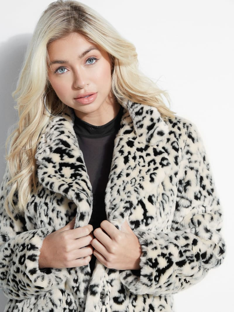 ANIMALIER FAUX FUR COAT image number 2