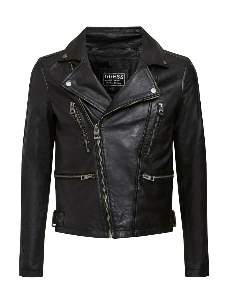 REAL LEATHER BIKER JACKET image number 5